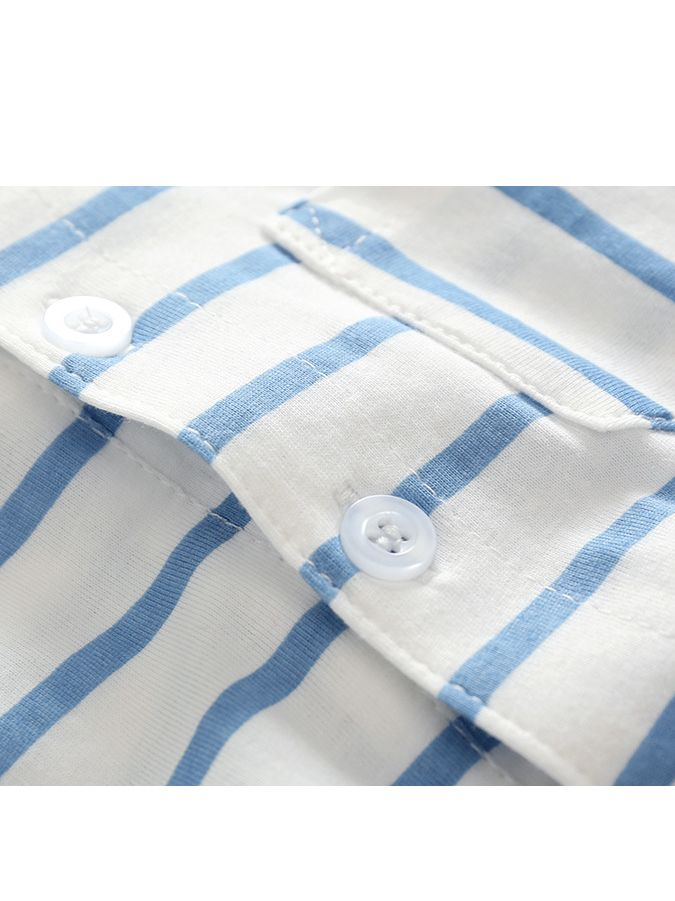 Free Shipping Ready to Ship From Ohio S-1603B Blue//White Striped Short Set
