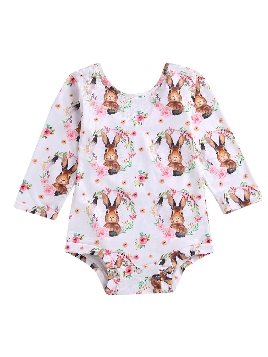 f002a6dda86 ... Cute Flower Bunny Infant Girl Lace Up Romper Baby Easter Onesie ...