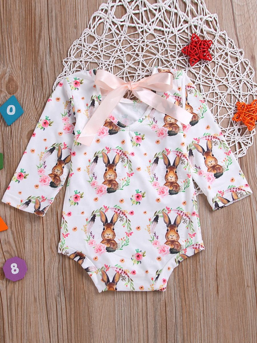 8fe969abb036 Cute Flower Bunny Infant Girl Lace Up Romper Baby Easter Onesie ...