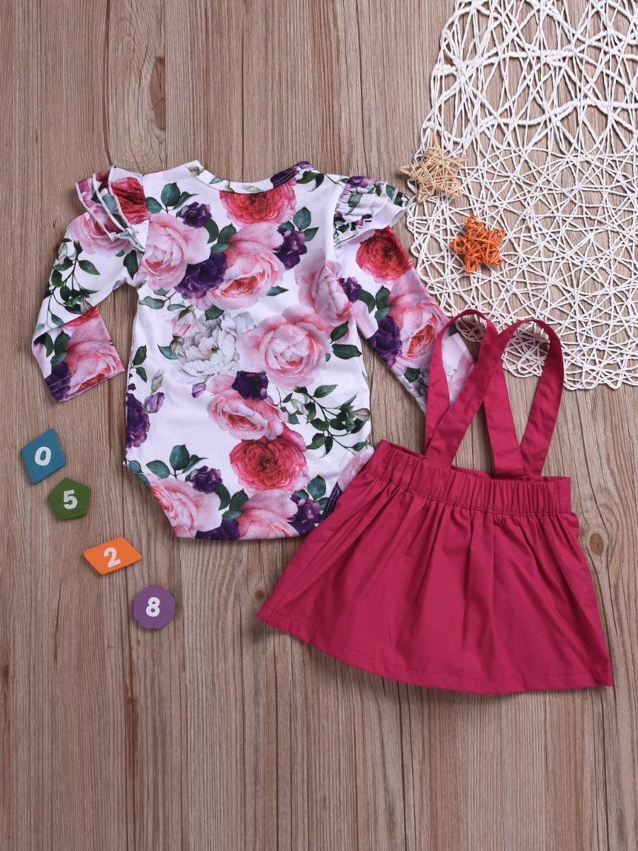 4f4aae957 ... 2-Piece Baby Girl Summer Holiday Clothing Outfits Set Flutter Sleeve  Flower Onesie+ Jumper Skirt ...
