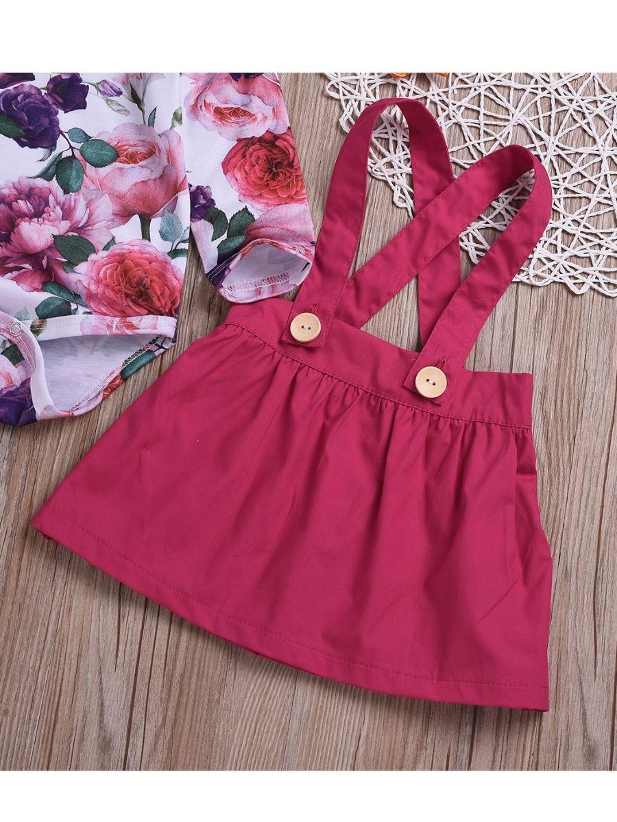 09f235d78 ... 2-Piece Baby Girl Summer Holiday Clothing Outfits Set Flutter Sleeve  Flower Onesie+ Jumper Skirt