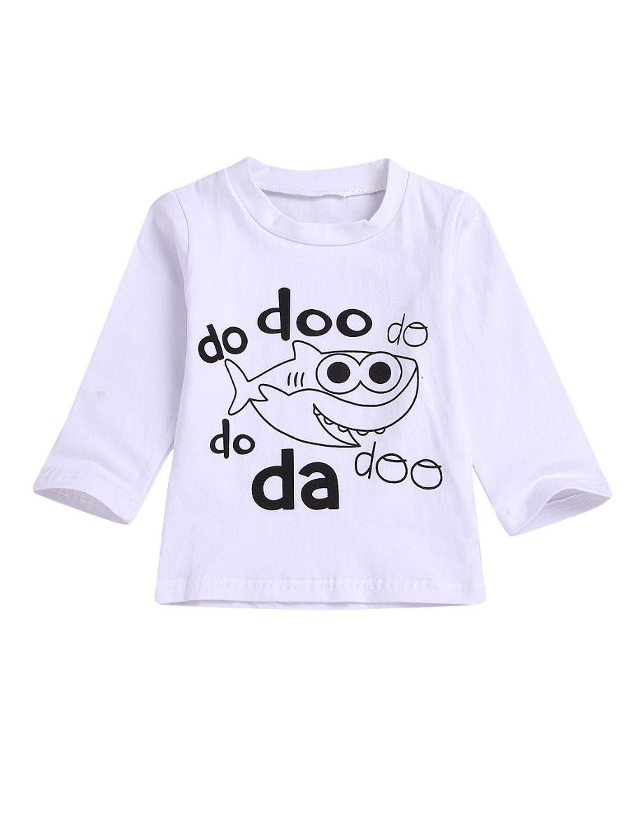 76d6e042 Spring Toddler Infant Shark Print T-shirt Pullover ...