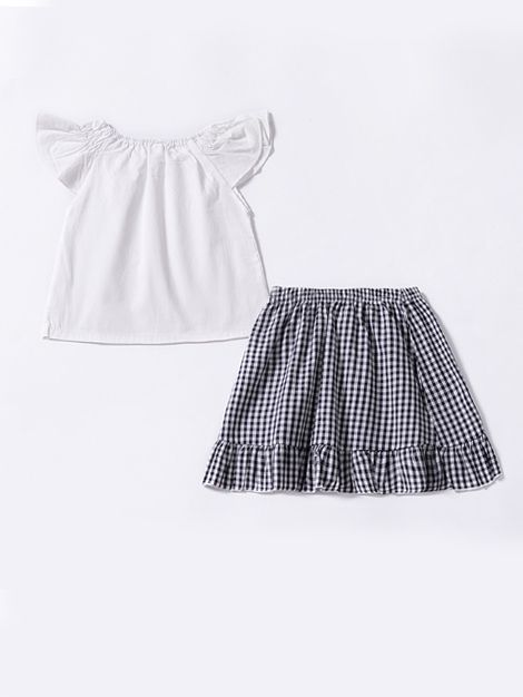 38df95201 ... 2-Piece Toddler Infant Girl Summer Clothing Outfits Set White Flutter  Sleeve Blouse Tops+ ...