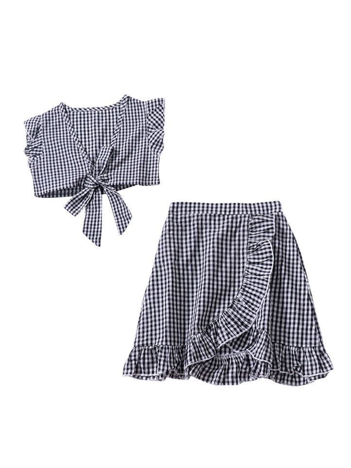 a5514e1d1d 2-piece Stylish Toddler Infant Girl Summer Clothes Set Checked Tank Tops+Asymmetrical  Hemline ...