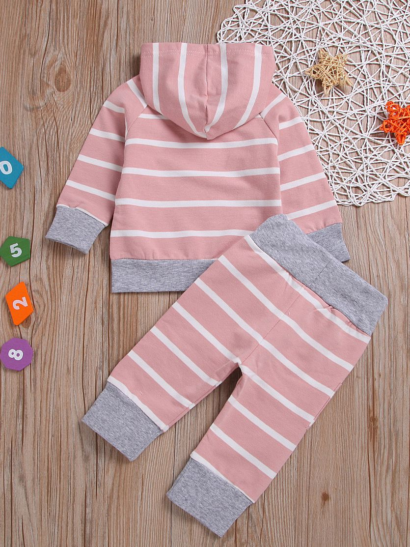 d1bb3f73 ... 2-piece Spring Baby Girl Casual Baby Tracksuits Striped Hoodie+Pants ...