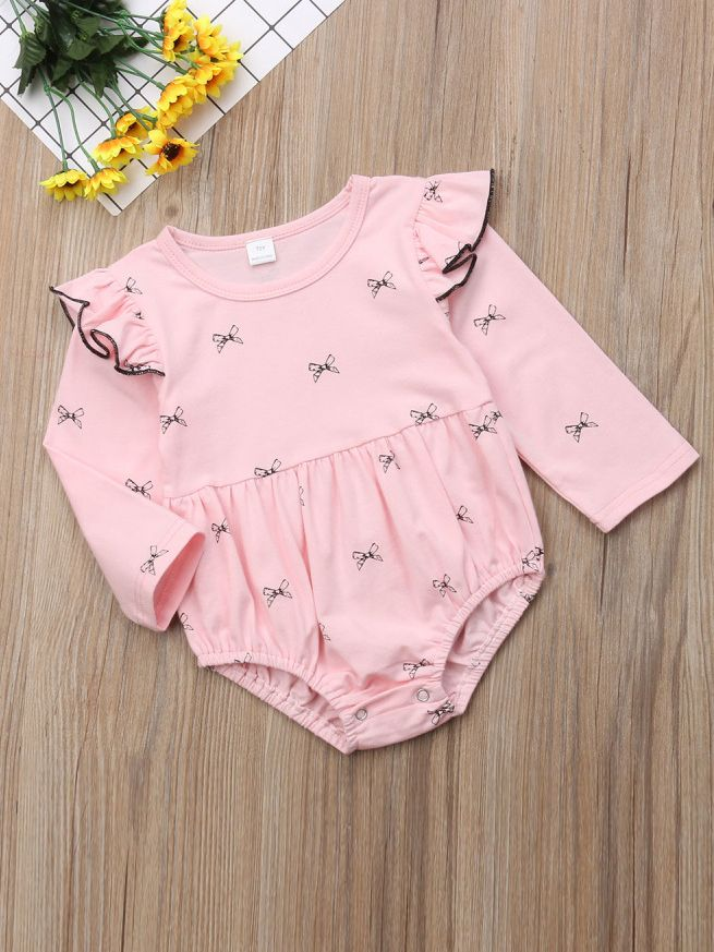 c158f72bd294 Wholesale Bow Pattern Print Flutter Sleeve Infant Girl