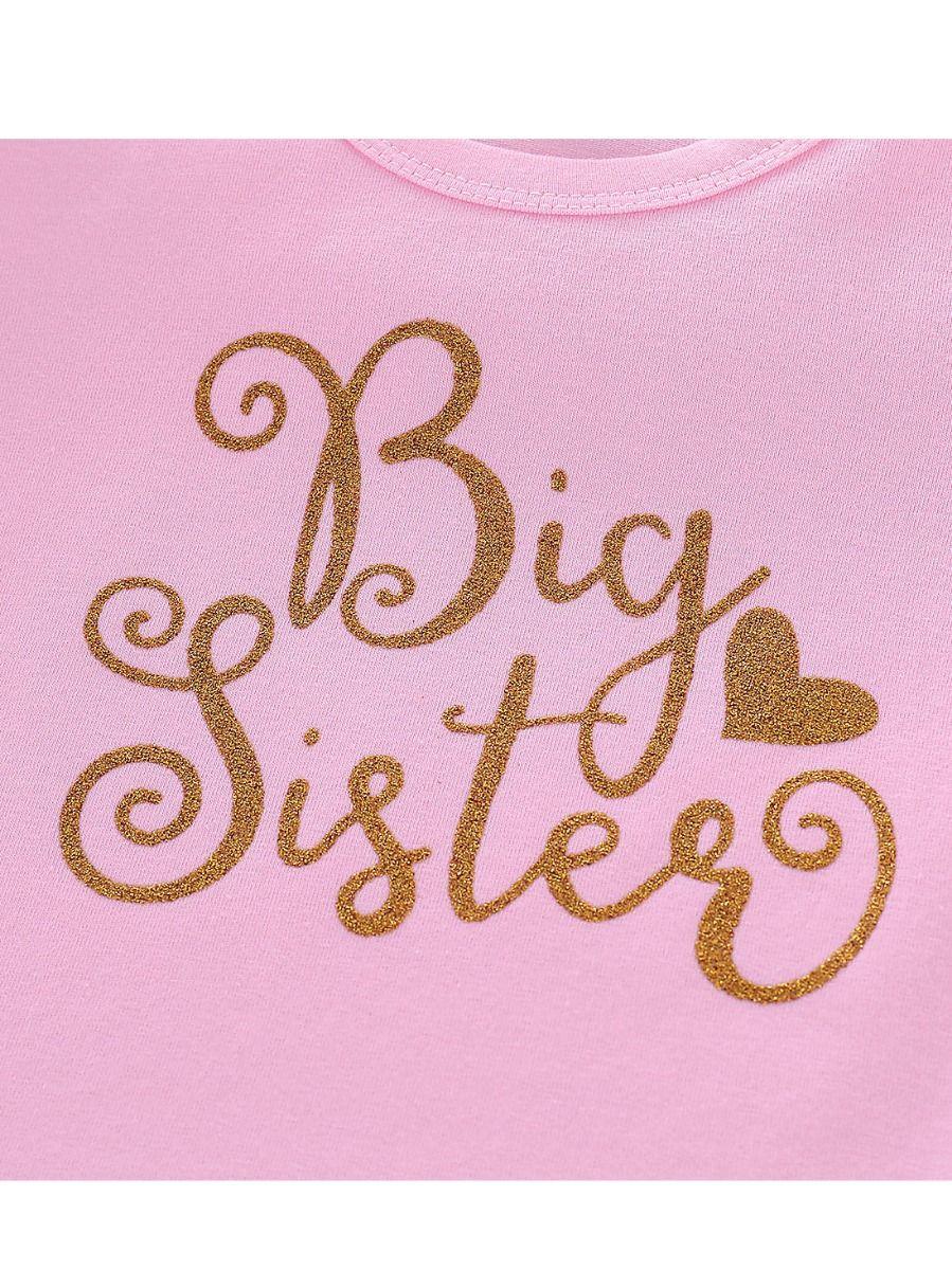 c55d3c28ec29 ... Spring Gold Big Sister Print Ruffle-hem Long-sleeved Toddler Little  Girl Pink Dress ...