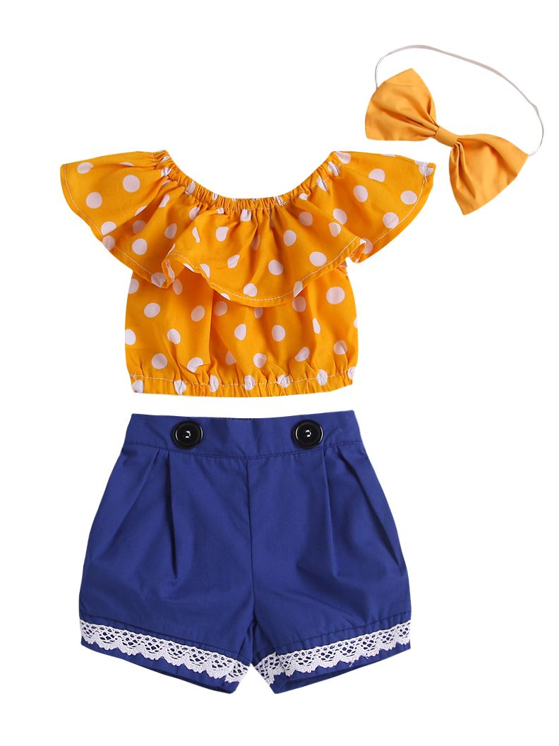 f04245792 3-piece Summer Stylish Baby Girl Clothing Set Ruffle Collar Polka Dots Short  Top + ...