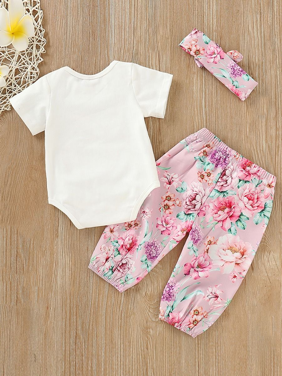 11e5140c5ca3b ... 3-piece Spring Summer Baby Girl Easter Clothes Outfit Set Short-sleeved  Flower Bunny ...