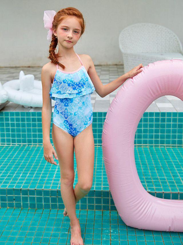 Wholesale Fashion Toddler Big Girl Floral Halter Neck O
