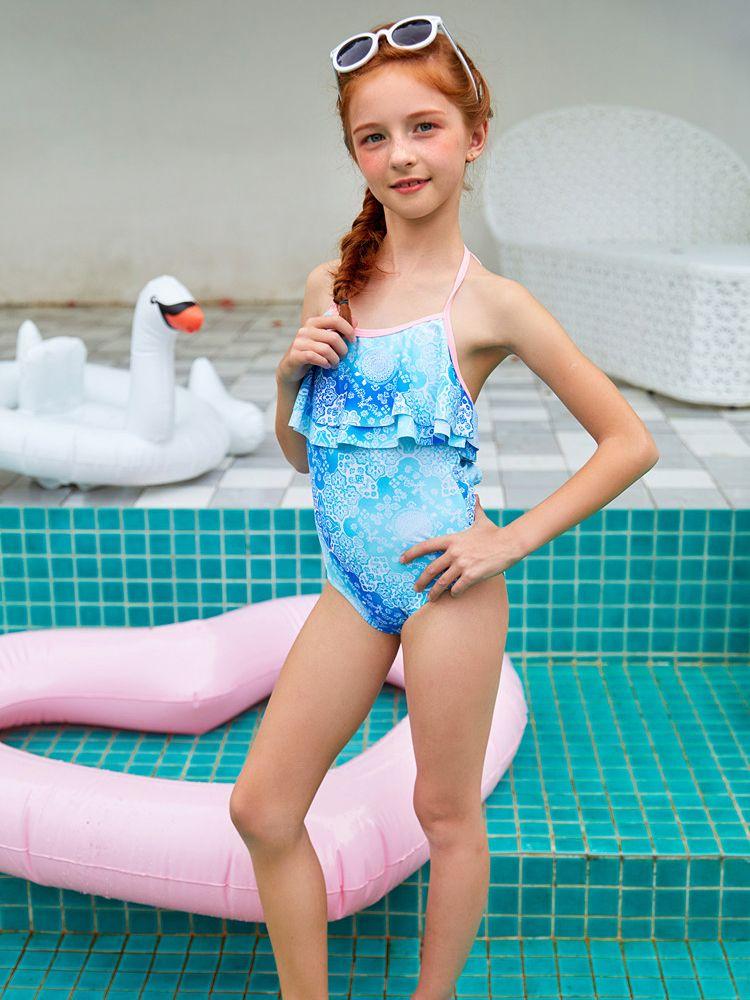 9e768359cfb ... Fashion Toddler Big Girl Floral Halter Neck One Piece Swimsuit Kids  Swimwear ...