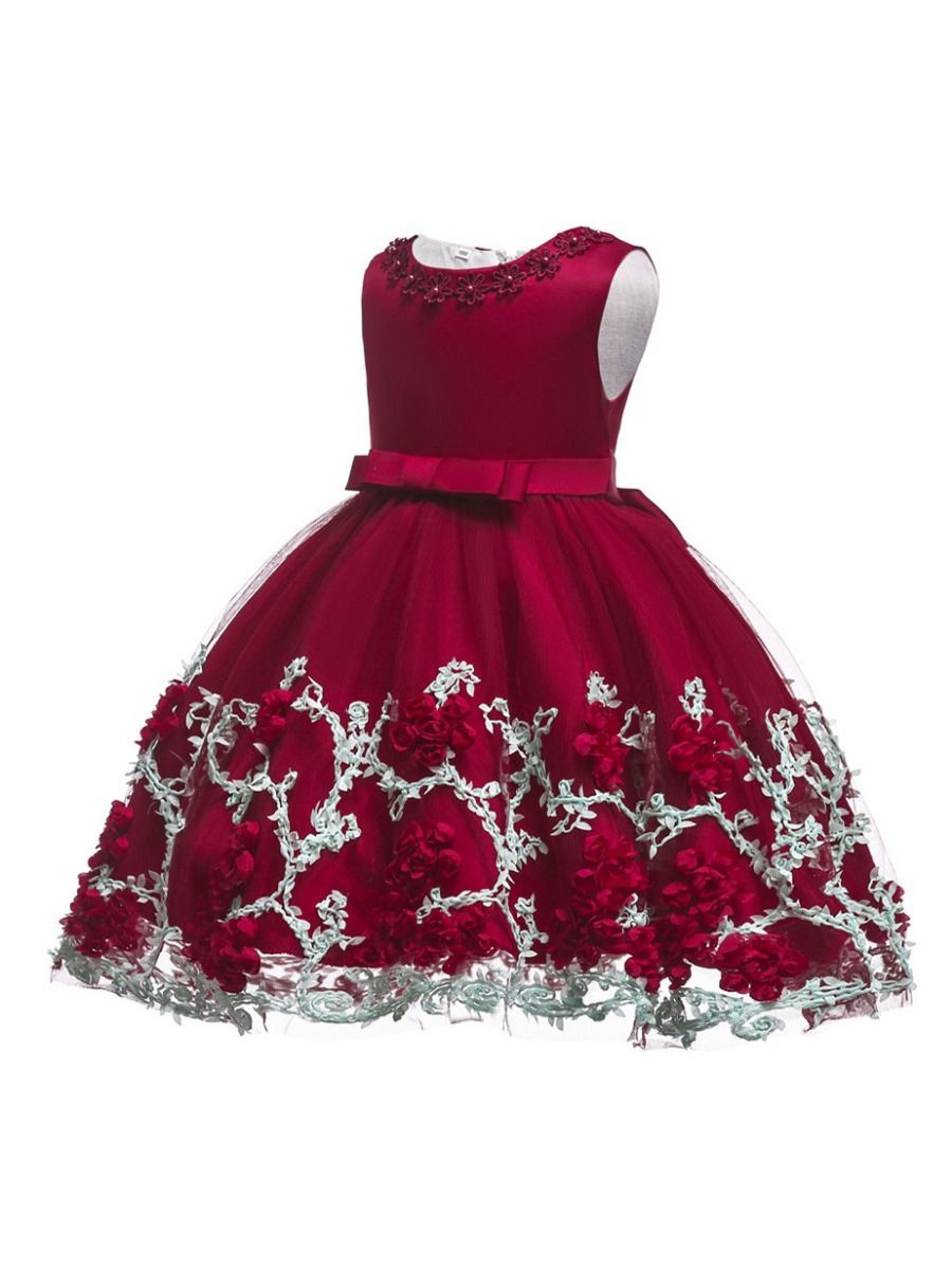 38c8b7cef67f ... Little Big Girl Sleeveless Flower Trimmed Bow Belted Mesh Princess  Bodice Party Dress Kids Formal Prom ...