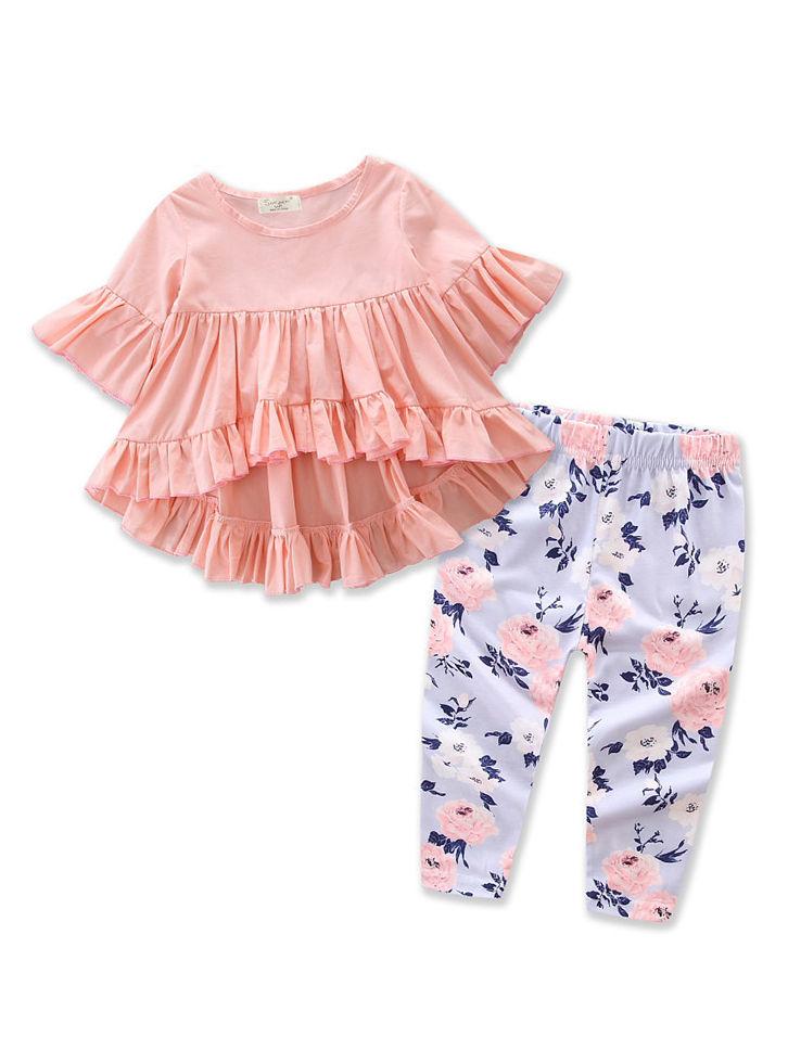 00ea1b02bfe Tap to expand · 2-piece Stylish Baby Girl Ruffle Short-sleeved Asymmetrical  Hem Tunic Dress Top + ...