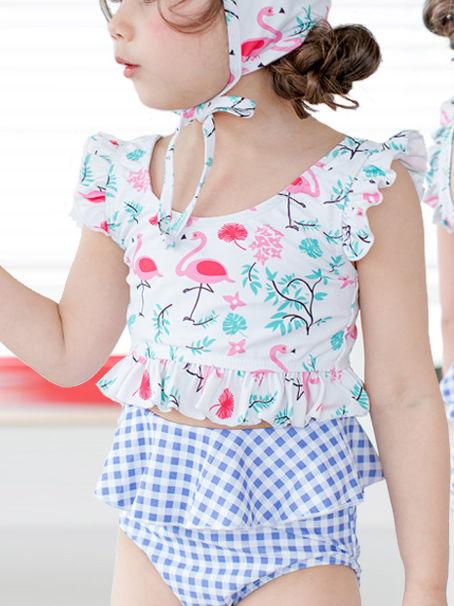 822f410534 ... 3-piece Toddler Big Girl Swimwear Set Cartoon Flamingo Swimsuit+Shorts+Swim  Hat ...