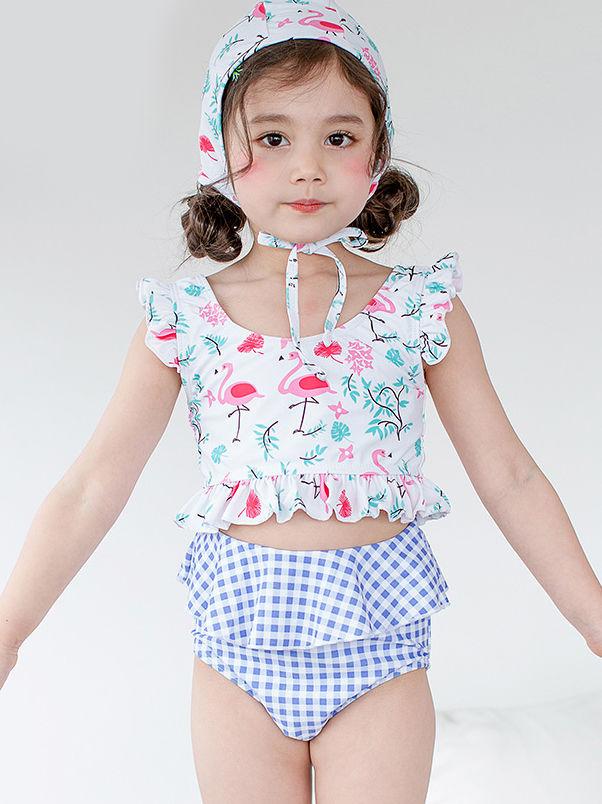 3pc Baby Girl Bikini Swimsuit Flamingos Crop Tops Ruffle Shorts with Hat Summer Swimwear Bathing Suit
