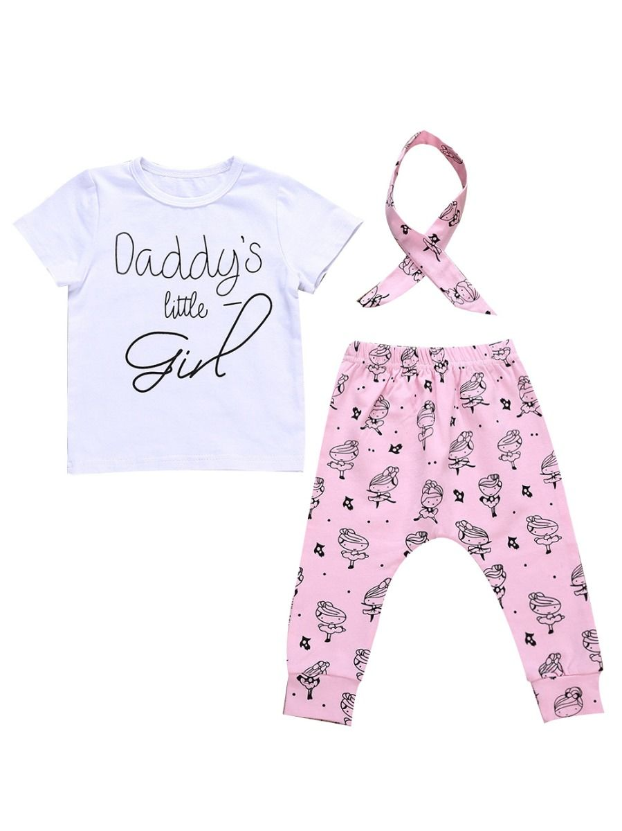 2a5fa8c2f072c 3-Piece Baby Girl DADDY'S LITTLE GIRL Letters Print Short-sleeved T-shirt  ...