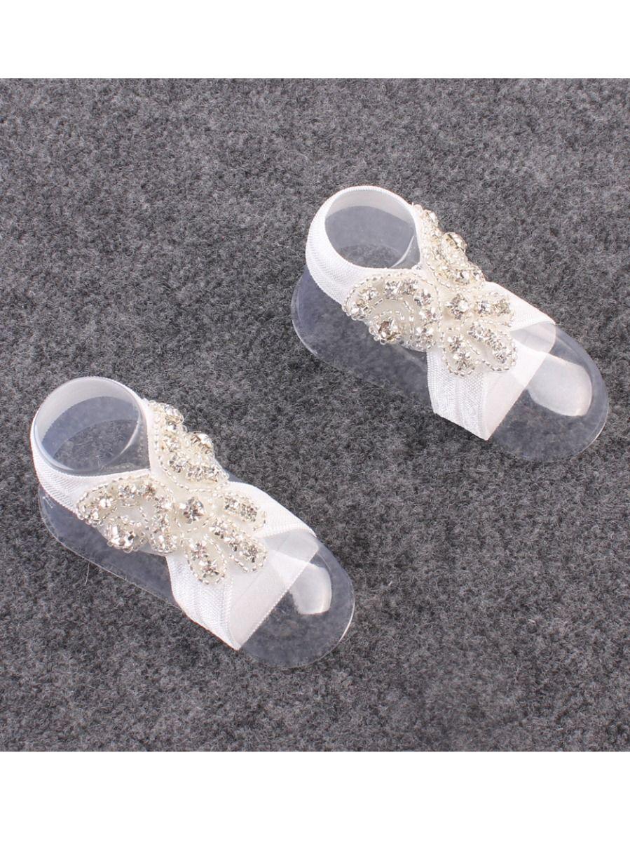 c7bbff1ae465 ... Fashion Baby Girl Barefoot Rhinestone Crystal Sandals Infant  Christening Shoes ...