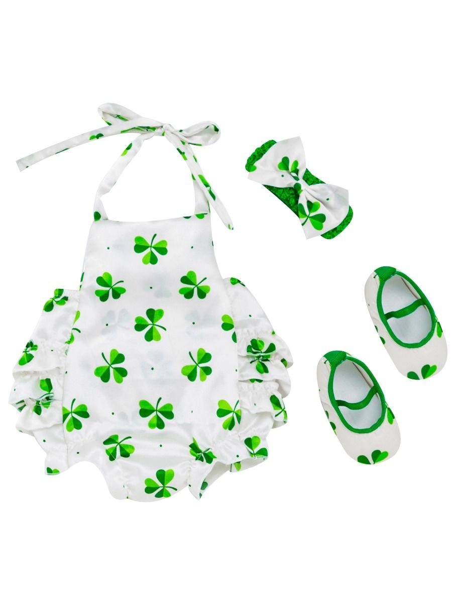 8a4af79f5 3-Piece Baby Girl Saint Patrick's Day Clothes Outfits Set Halter Neck  Four-leaf ...