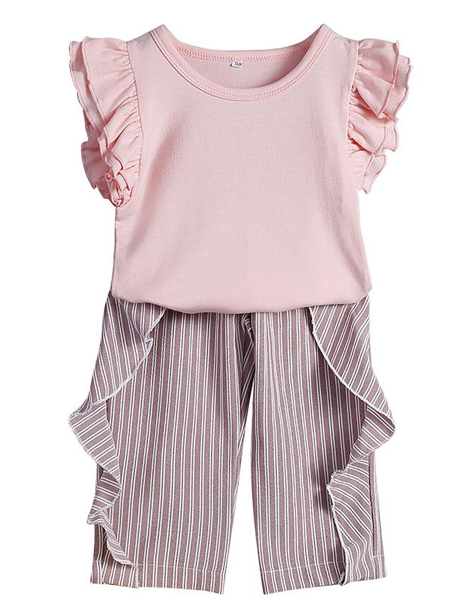 e6ab55893 2-Piece Fashion Toddler Baby Girl Summer Clothes Outfits Set Short Flutter  Sleeve Pink Blouse Top + Frilled Striped Pants