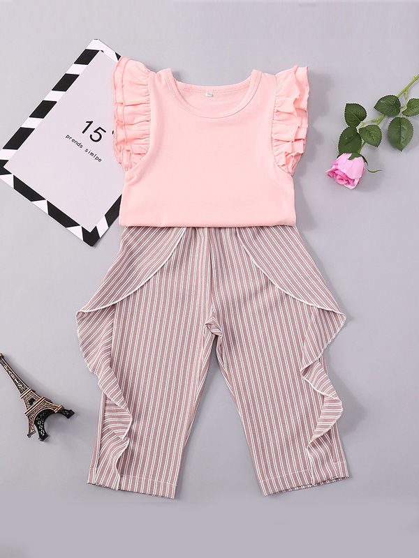 7ba9028bd ... 2-Piece Fashion Toddler Baby Girl Summer Clothes Outfits Set Short  Flutter Sleeve Pink Blouse ...