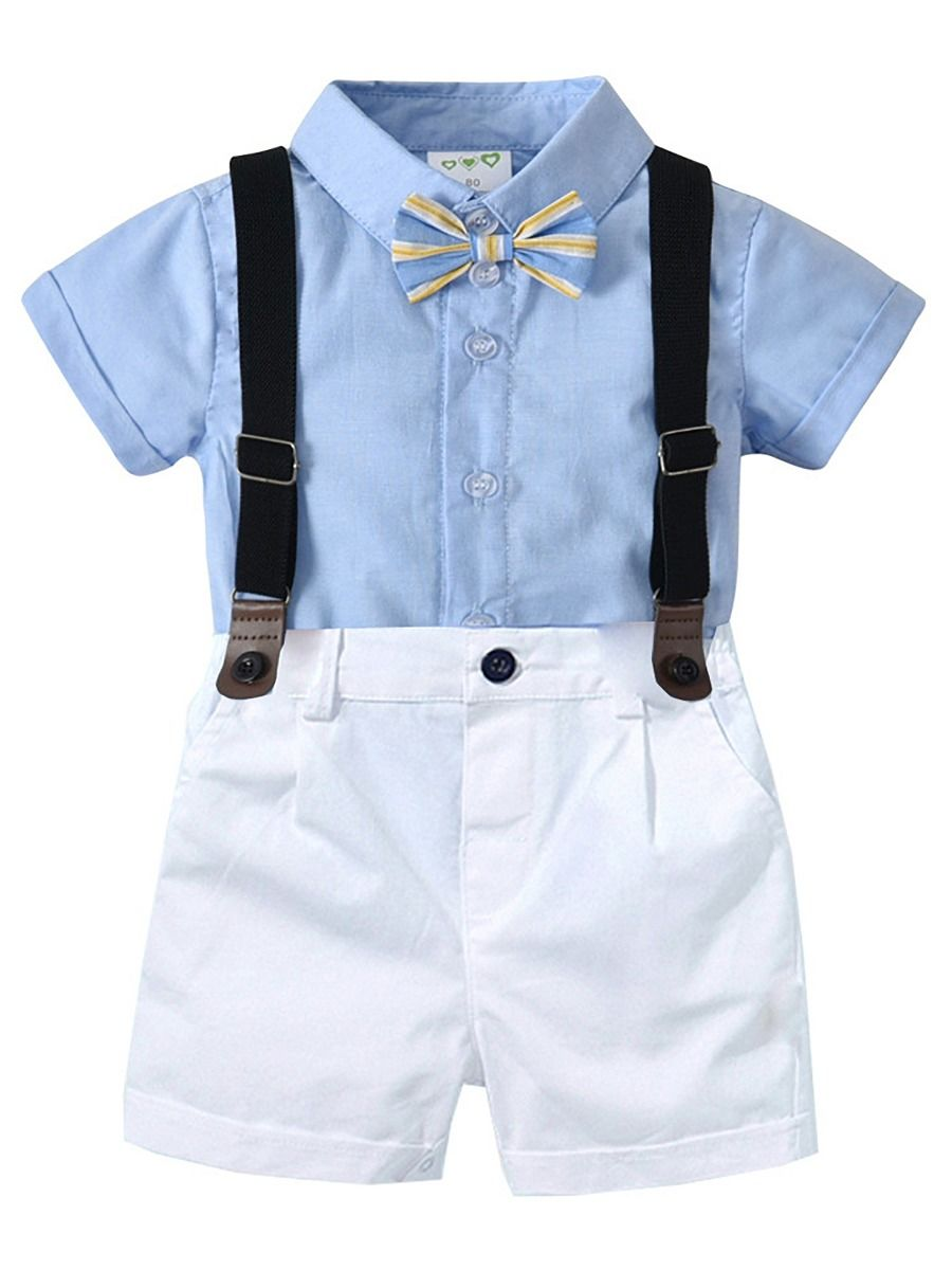 9082b5478 4-Piece Summer Cute British Style Toddler Baby Boys Clothes Outfits Set  Light Blue Button ...