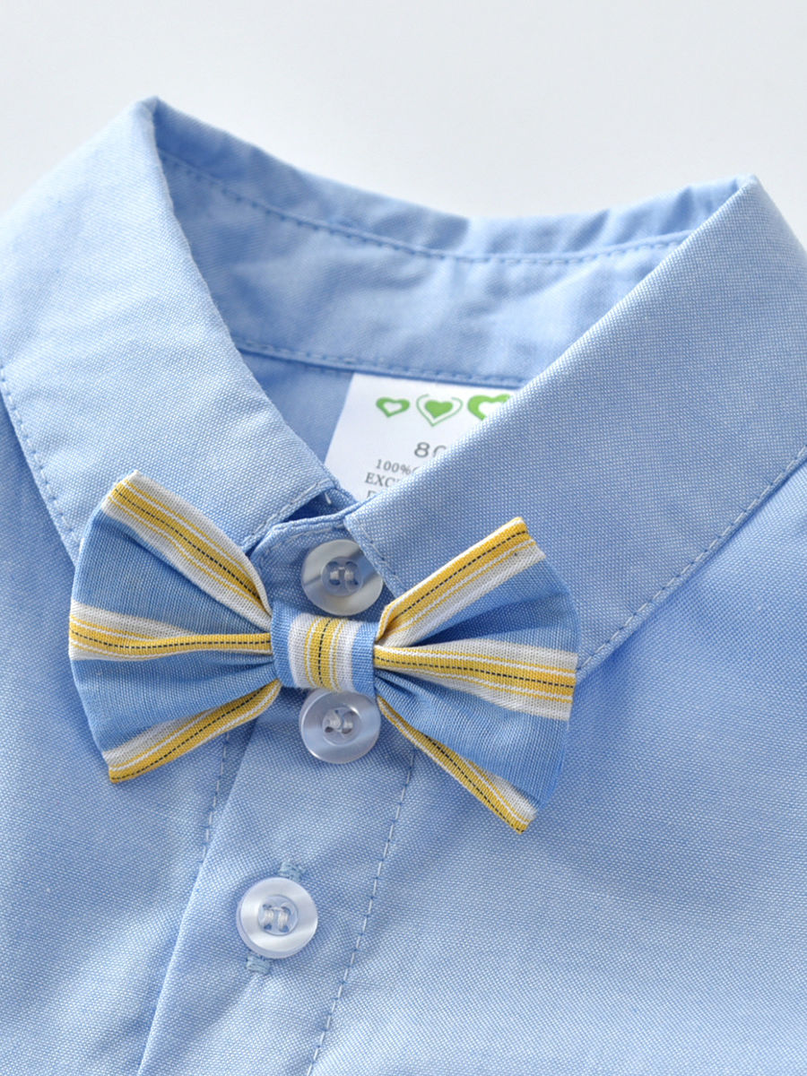 8b9210ea7 ... 4-Piece Summer Cute British Style Toddler Baby Boys Clothes Outfits Set  Light Blue Button ...