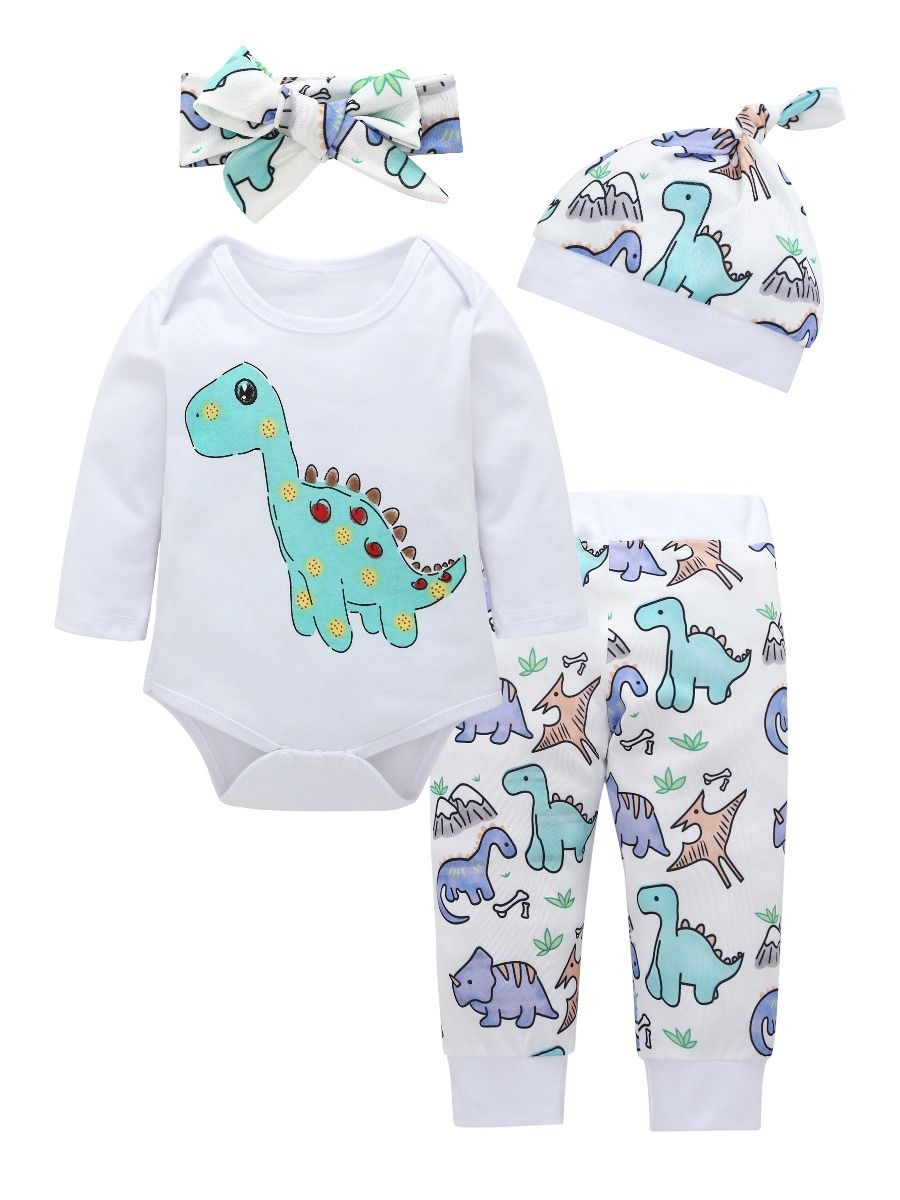 fd8fc22bc 4-Piece Baby Cartoon Dinosaur Clothes Outfits Set Long-sleeved Onesie +  Pants + ...