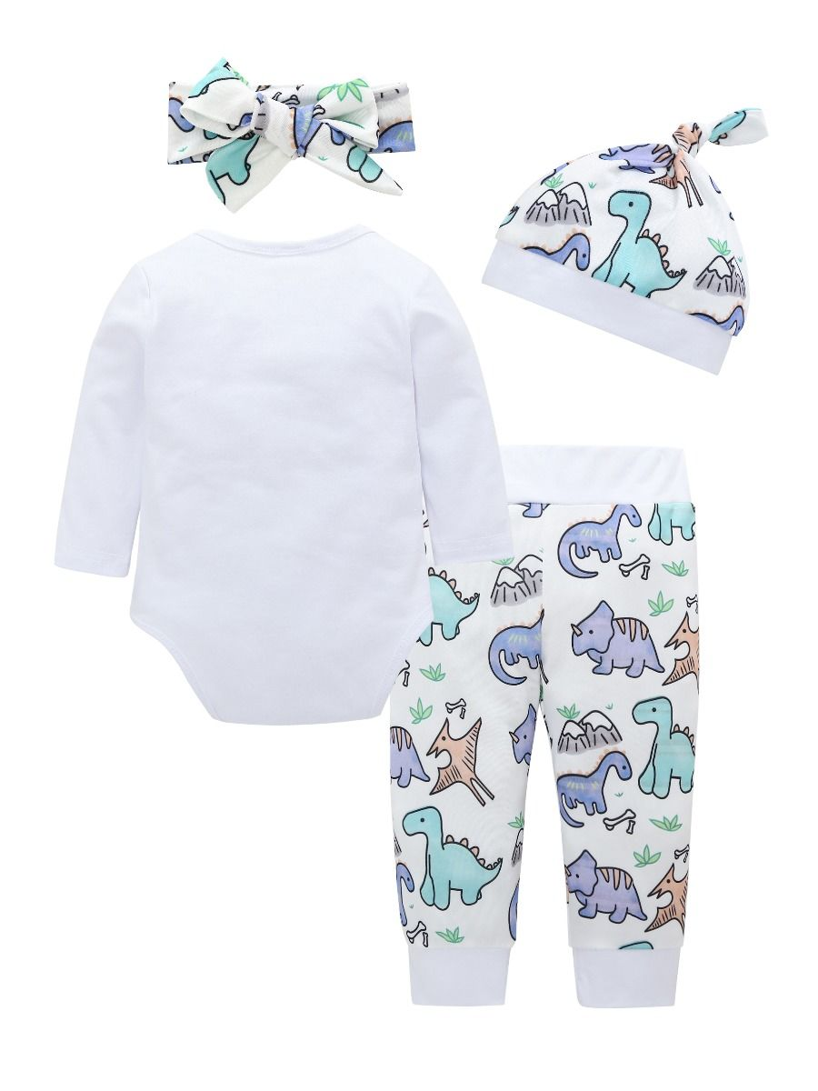 7017f336c ... 4-Piece Baby Cartoon Dinosaur Clothes Outfits Set Long-sleeved Onesie +  Pants + ...