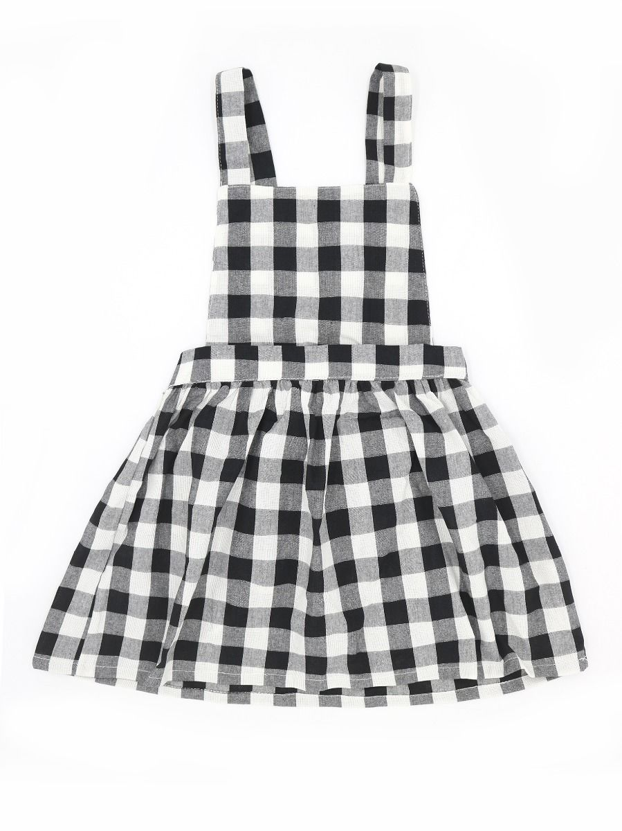7311e5491e9 6-PACK Baby Little Girl White & Black Checked Pinafore Dress ...