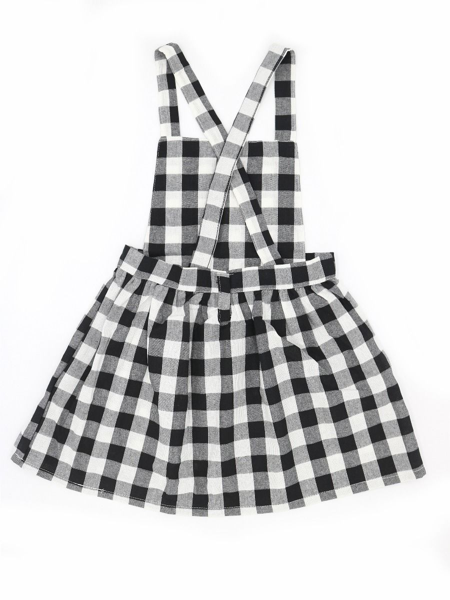 9f75ac302cf ... 6-PACK Baby Little Girl White & Black Checked Pinafore Dress ...