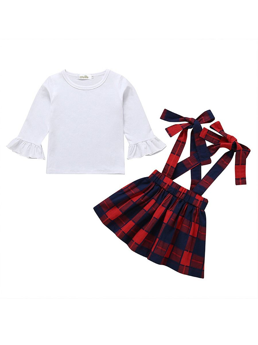 e6736ee9d0c 2-Piece Spring Fashion Baby Girl Clothes Outfits Set White Flare Sleeve Top+ Checked ...