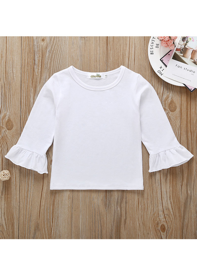 e5d9eb0ab7fbc ... 2-Piece Spring Fashion Baby Girl Clothes Outfits Set White Flare Sleeve  Top+Checked ...