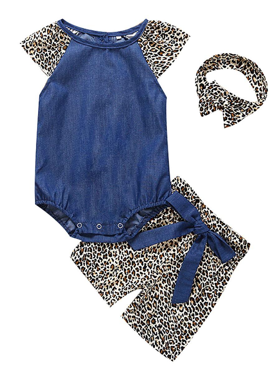 7fb1e05a8 3-Piece Summer Fashion Infant Girl Clothes Outfits Set Flutter Sleeve  Bodysuit+Leopard Print ...
