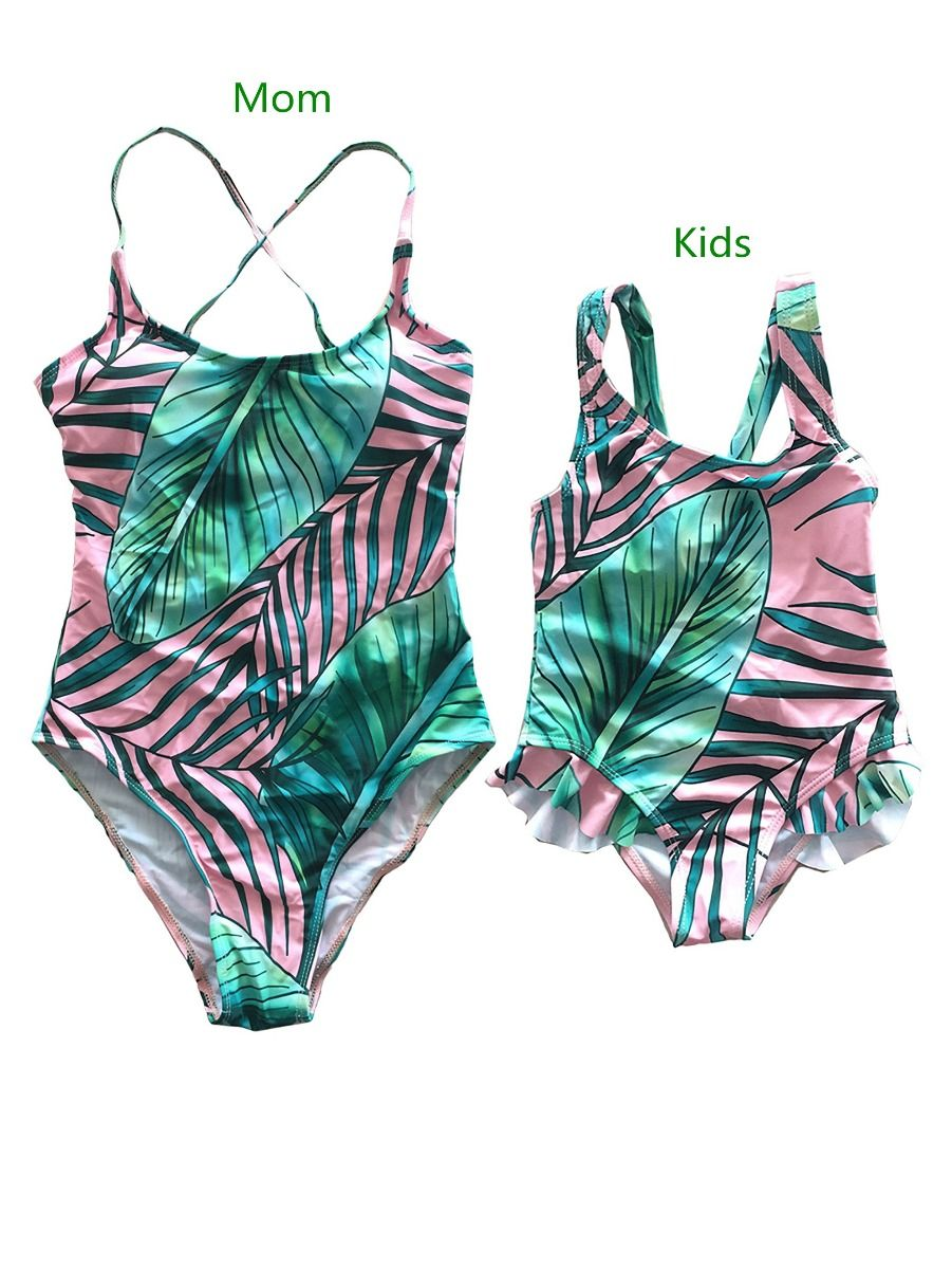 480890e6e0 Family Matching Leaf Print One-Piece Swimwear for Mom and Daughter ...