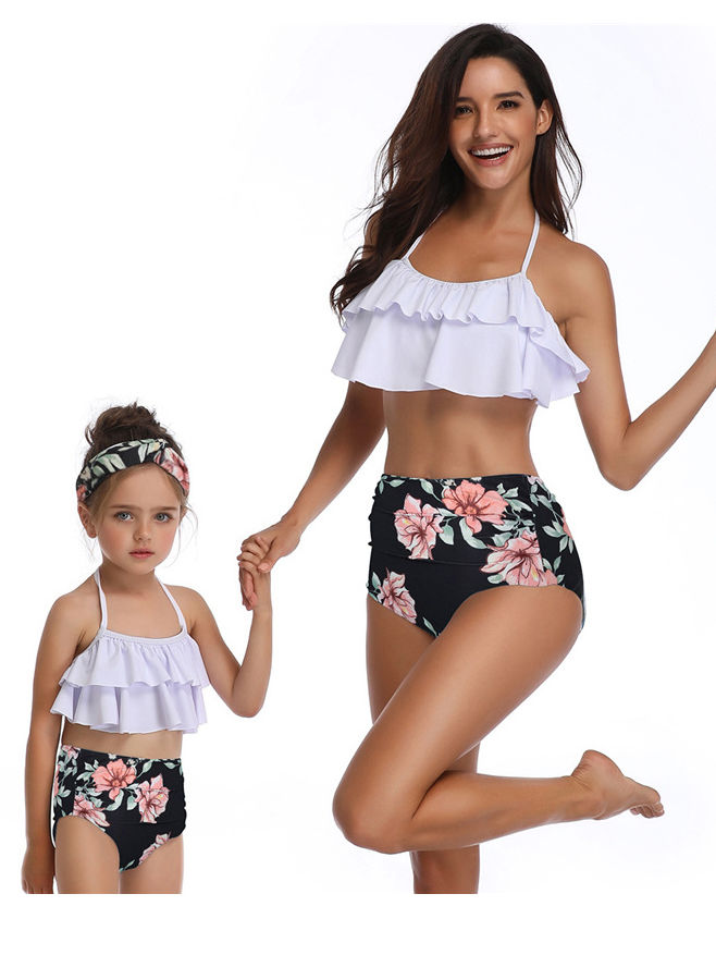 b1ba75ccd07 ... 2-Piece Mom and Me Halter Neck Tankini Bathing Suit White Frilled Bikini  + Floral ...