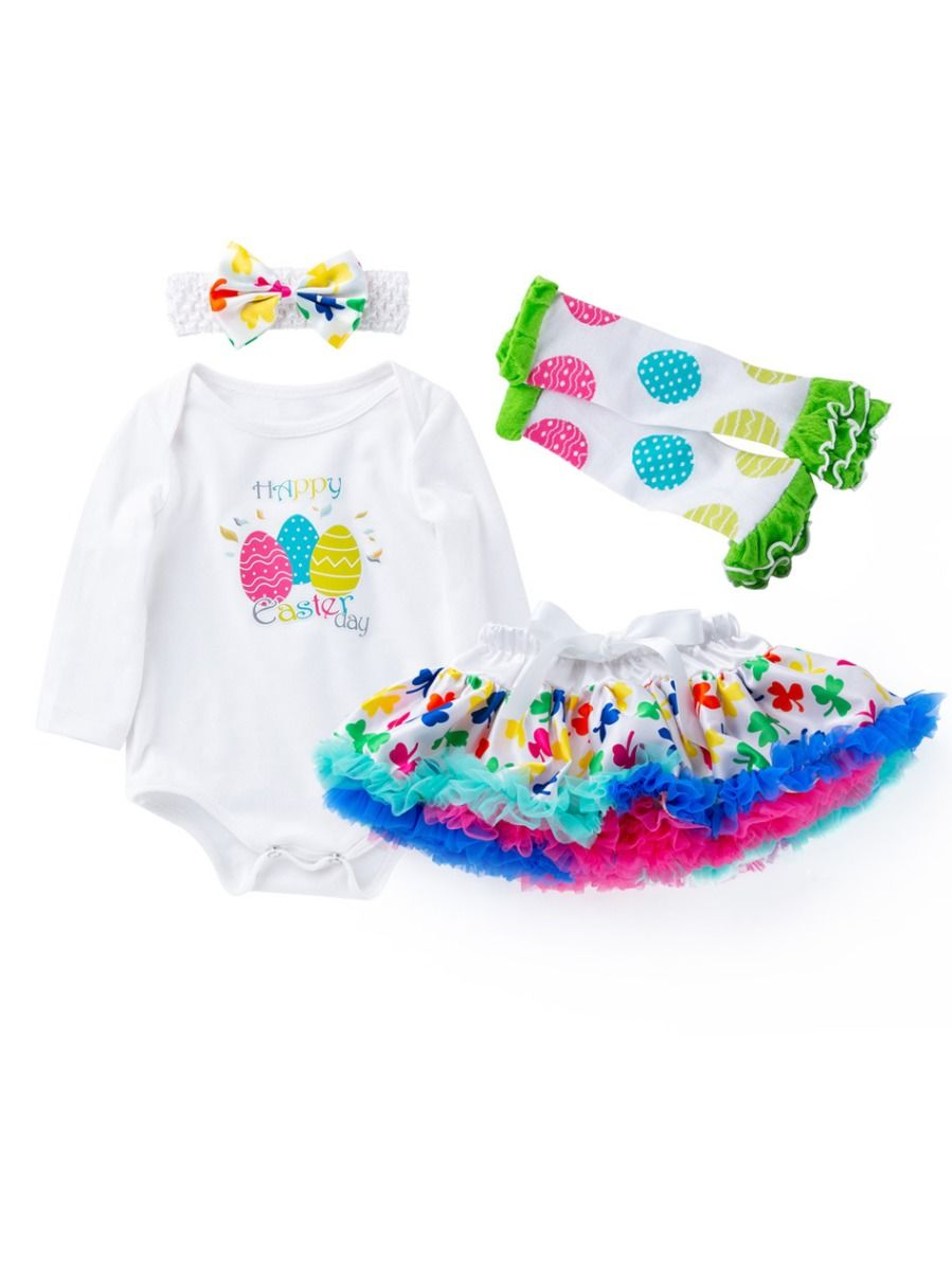 468b8a4440ae9 4-Piece Baby Girl Easter Theme Clothing Outfits Happy Easter Day Egg Print  Long Sleeve ...