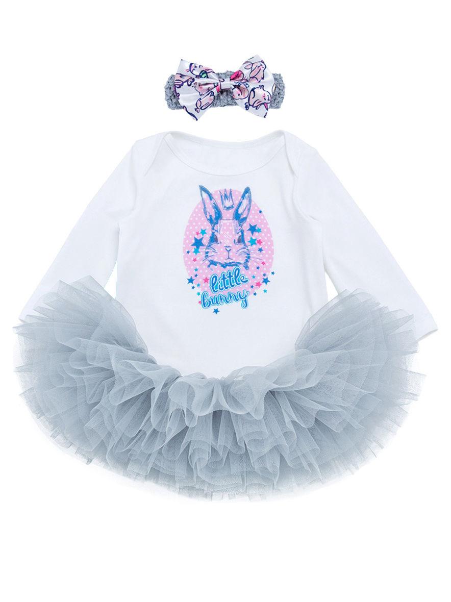 6b18db8cf 3-Piece Infant Easter Bunny Print Long-sleeved Romper+Tutu Skirt+Headband  ...