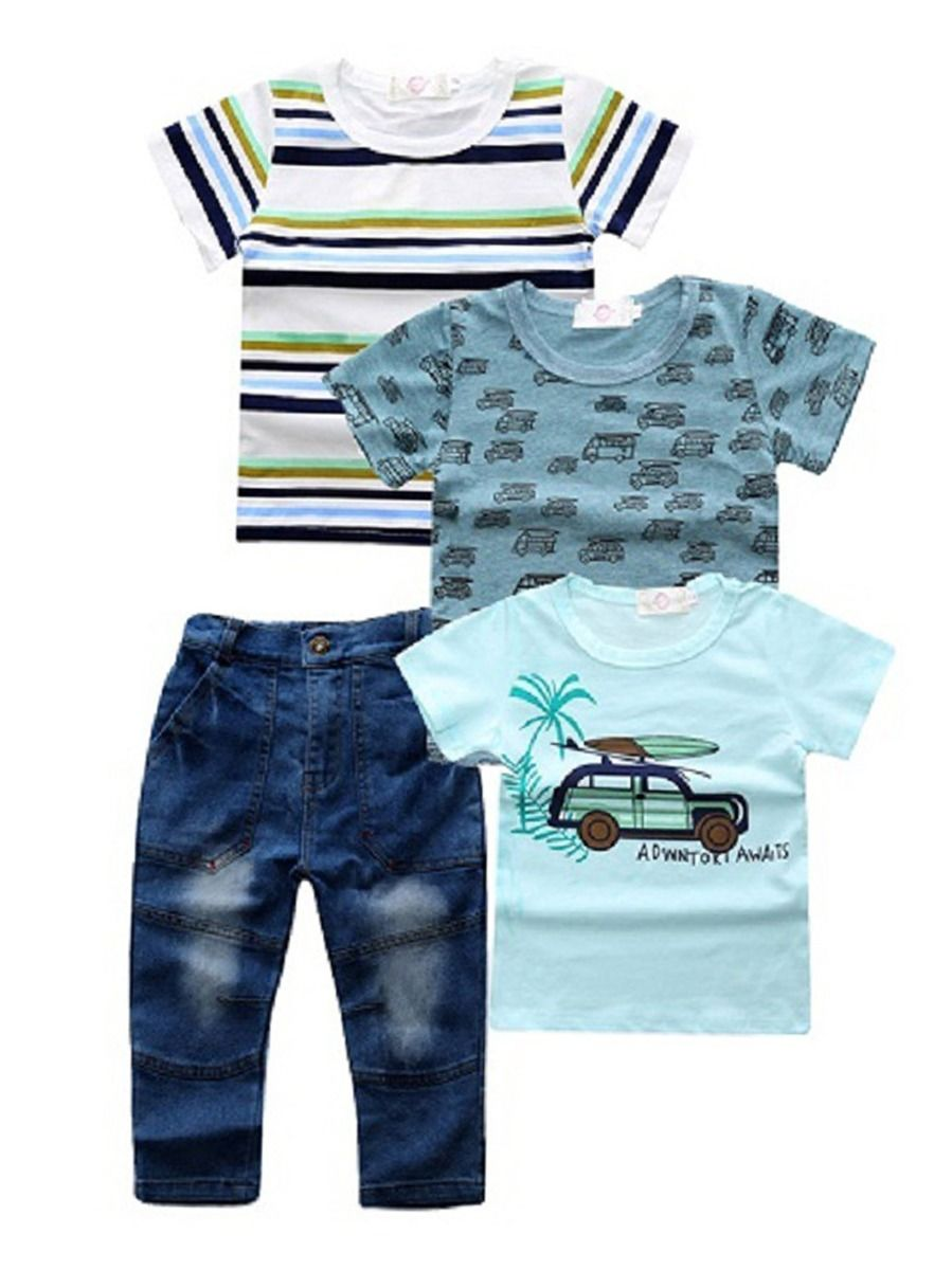 678e85bd 4-Pack Summer Baby Toddler Big Boys Clothes Outfits 3PCS T-shirts+Jeans ...