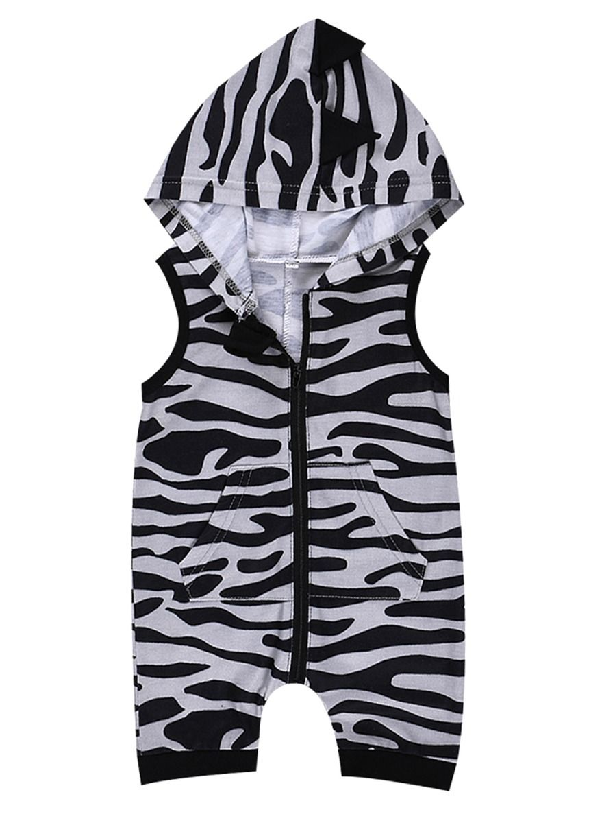 a2de9df943d6 Fashion Baby Hooded Sleeveless Zebra-stripe Romper Onesie ...