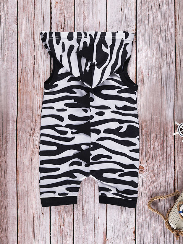 0e6fa94e823f ... Fashion Baby Hooded Sleeveless Zebra-stripe Romper Onesie ...
