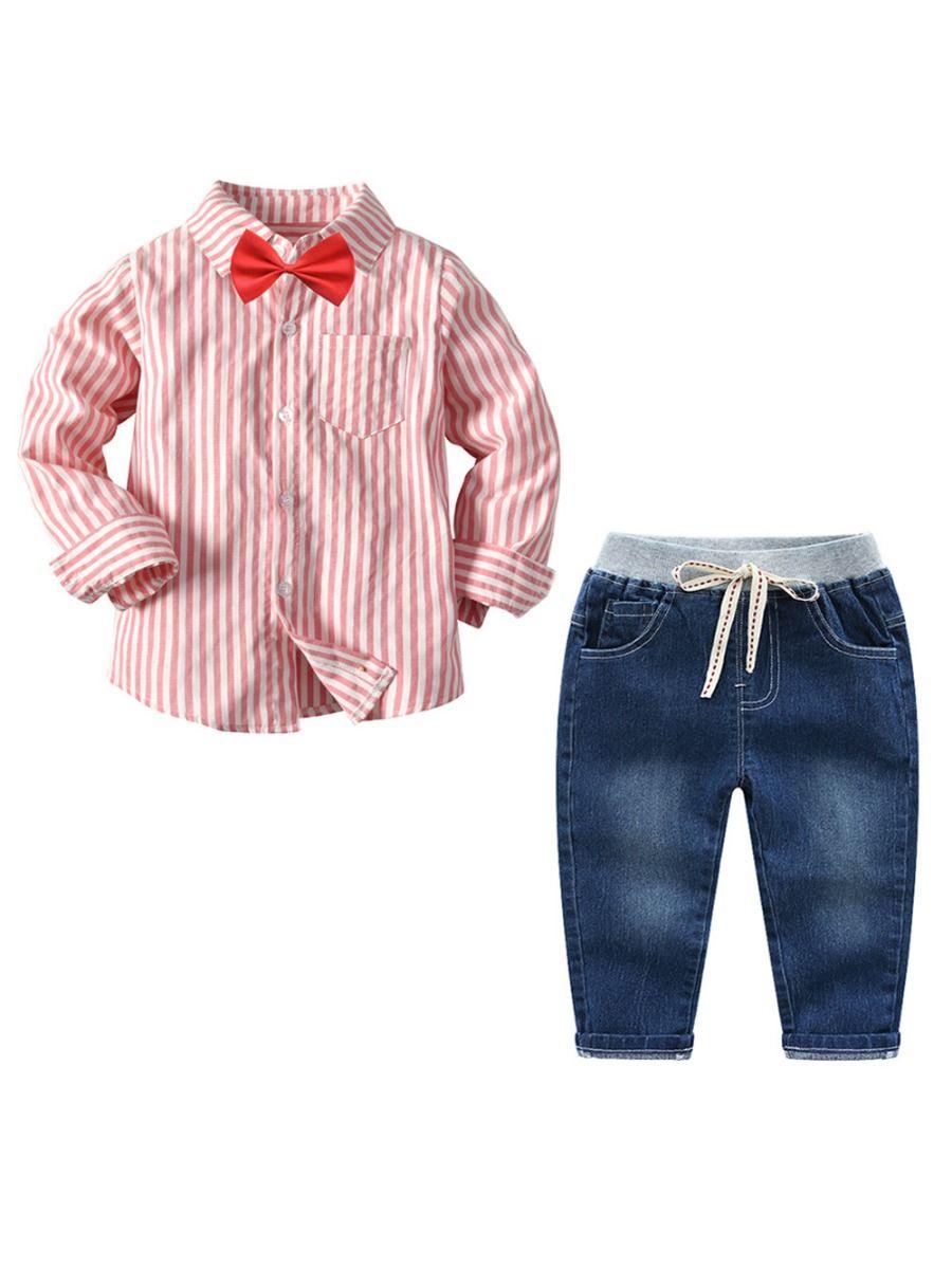 2f1e72d32 3-Piece Spring Toddler Big Boys Stripe Long Sleeve Shirt Top + Jeans + Bow  ...