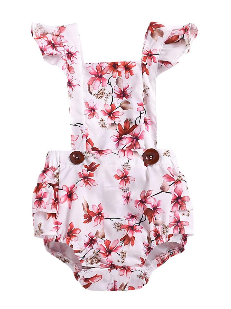 62cdefadd Wholesale Summer Baby Girl Flower Romper Bodysuit