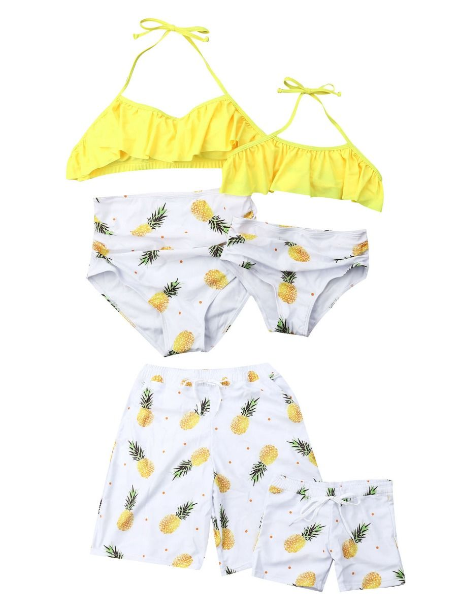 68ba5dade971f ... Family Matching Pineapple Print Tankini for Mom and Daughter ...