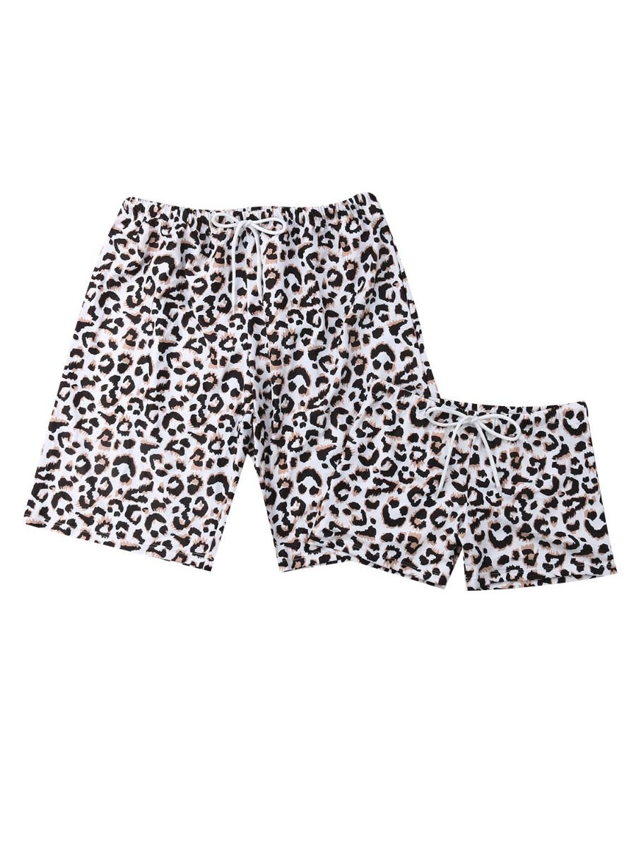 815720ea093f2 Family Matching Leopard Print Swimming Trunks for Father and Son ...