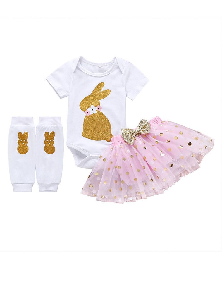 f7c9c0d311098 3-Piece Baby Girl Easter Clothes Outfits Bunny Bodysuit +Bow Tulle  Skirt+Legwarmers ...