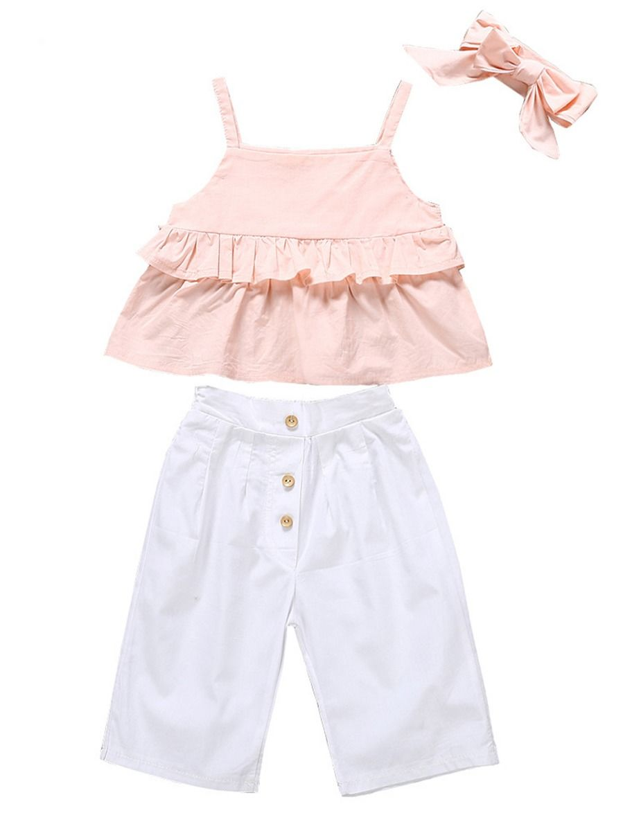 HGWXX7 Toddler Baby Girl Kids Summer Clothes Set Pink Ruffle Strap Tank Tops+Shorts Pants Outfits