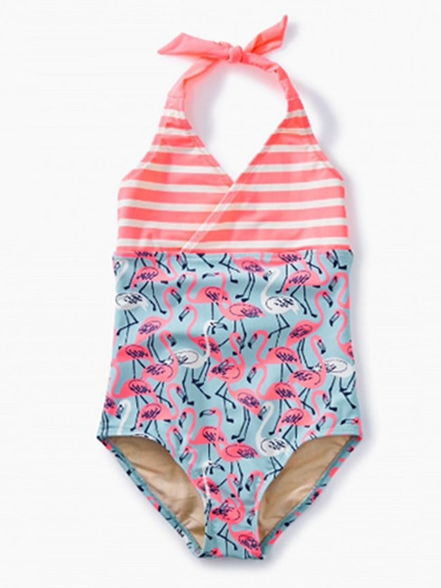 bce049897a15ba Stylish Flamingo/Flower Little Girl Halter Neck One Piece Bathing Suit ...