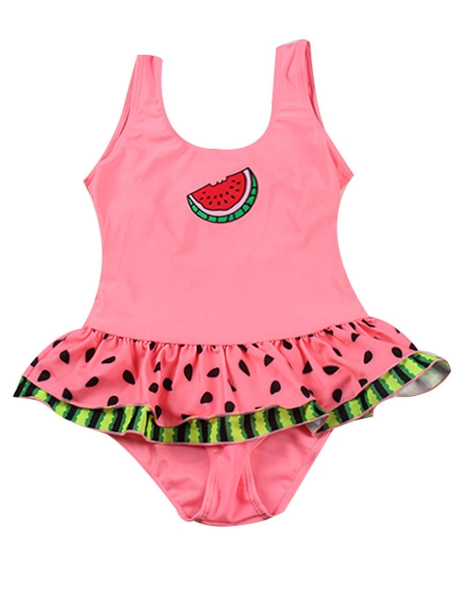 6ce8232e8c1dc ... Little Big Girl Watermelon Pattern Frilled One Piece Bathing Suit ...