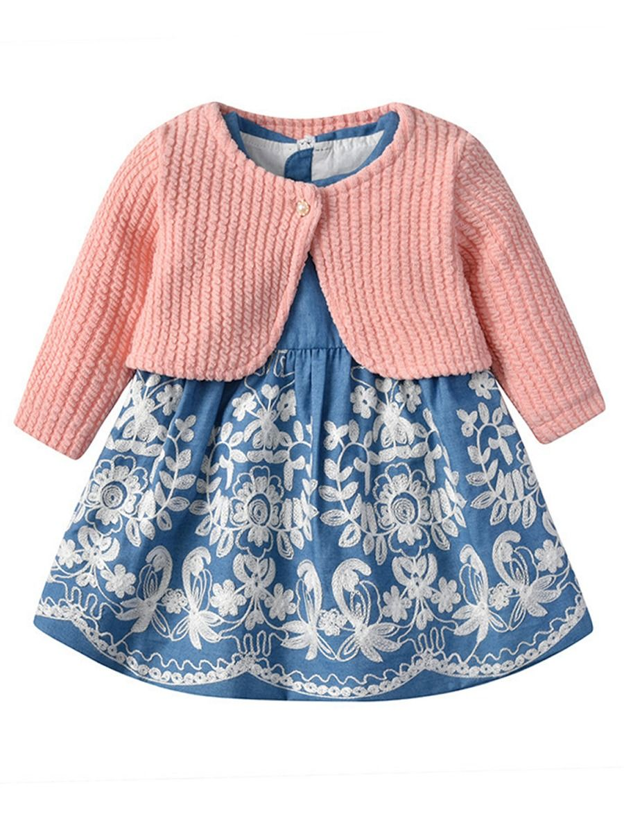 cfd630b617c6 2-Piece Spring Toddler Baby Girl Clothes Outfits Lace-trimmed Peter Pan  Collar Sleeveless ...