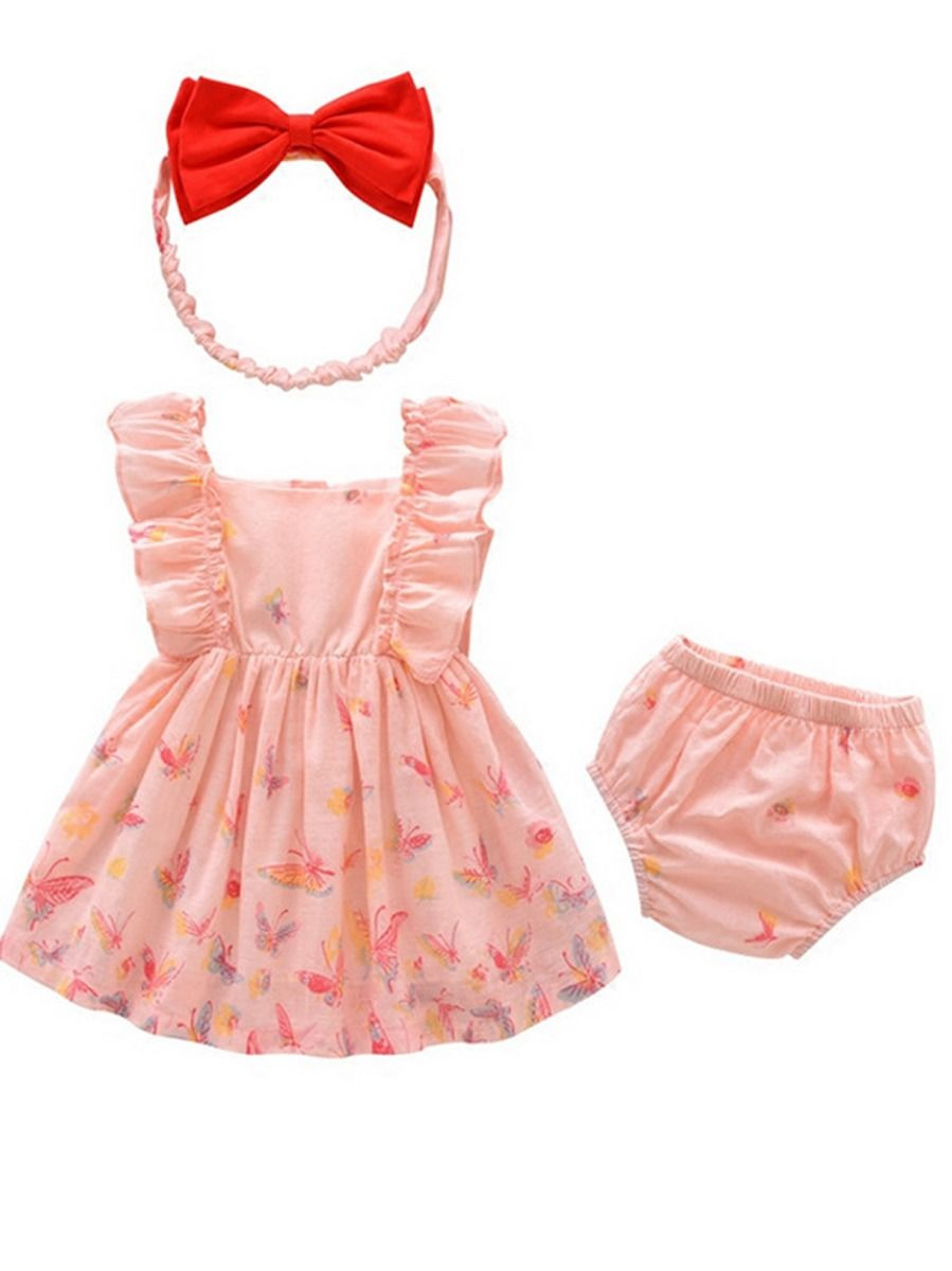 Baby Girl Spanish Style Butterfly Pattern Dress with Bow